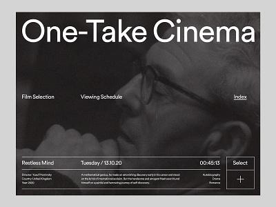 One-Take Cinema — Web studio website art direction design grid layout ux web minimal typography