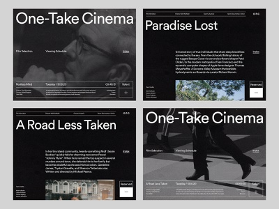 One-Take Cinema — Layouts studio website photography art direction grid layout ux web minimal typography