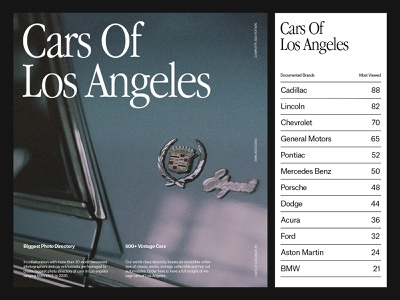 Cars Of LA — Art Direction branding website art direction photography grid layout ux web minimal typography