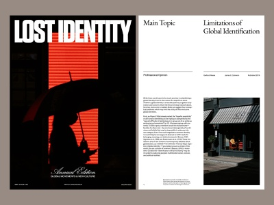 Lost Identity — Magazine magazine presentation branding art direction photography design grid layout minimal typography