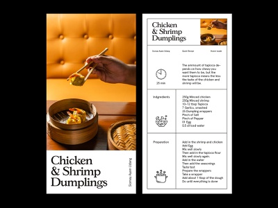 Dumplings Recipe — Layout design photography art direction grid layout minimal typography
