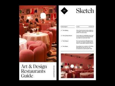 Art Restaurants — Guide website photography art direction design ux web layout minimal typography