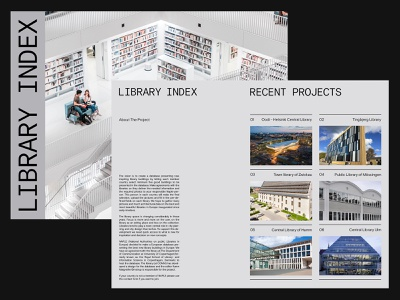 Library Index — Visual Design ui ux web art direction grid layout minimal typography
