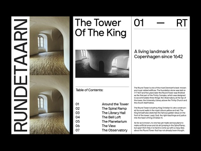 Rundetaarn Brochure brand identity print keynote presentation brochure art direction grid layout typography
