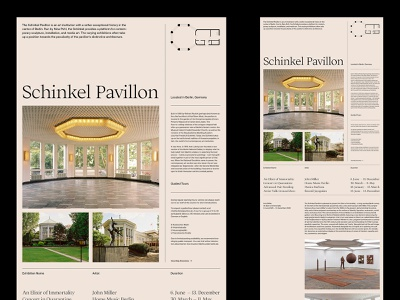 Schinkel Pavillon – Landing presentation branding website design art direction ux web layout minimal typography