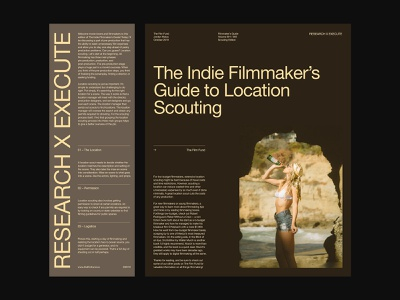 Film Scouting – Collateral Layout presentation website layout branding design art direction ux web typography