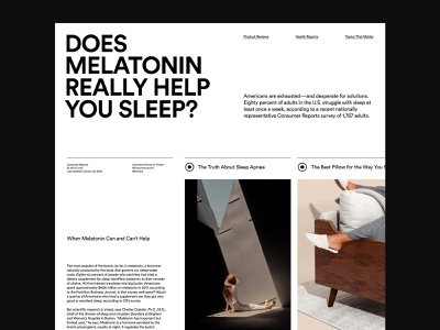 Sleeping Report – Layout website agency web design ux art direction layout minimal typography