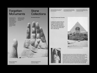 Forgotten Monuments – Layout design website art direction ux web layout minimal typography