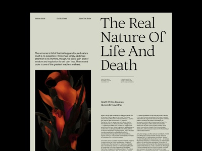 The Real Nature – Article Layout website presentation design art direction ux web layout minimal typography