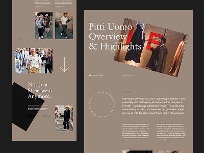 Pitti Uomo — Article editorial fashion art direction agency studio grid minimal typography layout