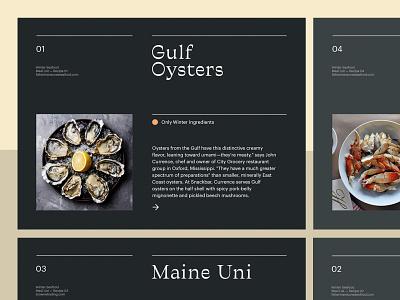 Seafood Recipes — Layout food layout ui art direction design grid ux typography minimal web