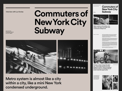 NYC Subway Photography — Web Layout art direction web photography branding graphic design typography minimal layout website