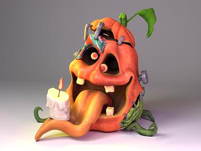 Halloween pumpkin scary 3dcharacter 3d illustration cartoon funny sanam jokar pumpkin character halloween