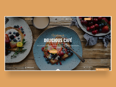 Delicious Cafe and Restaurant Landing Page Design template prototype cafe booking restaurants restaurant agency landing page ux ui design