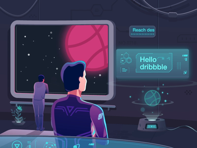 Hello Dribbble hud 设计 holographic figure drawing science fiction future starry sky hello dribbble screen space 插图