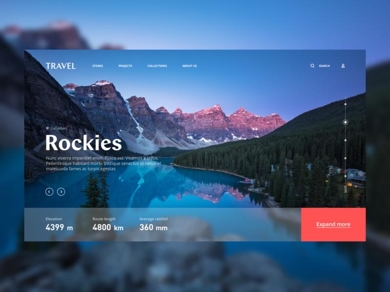 Rockies interaction vector movie travelweb travel animations design graphics web ui card