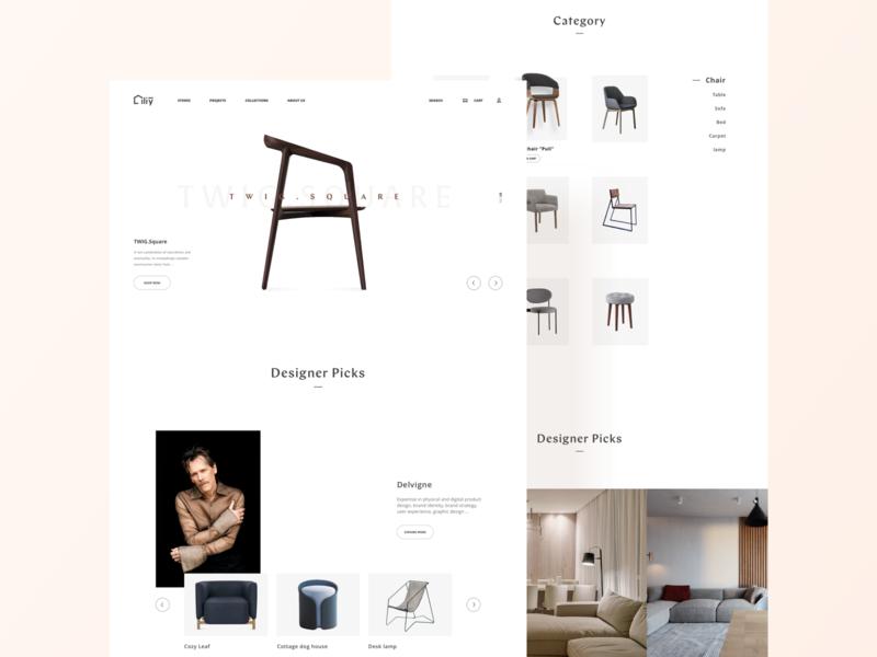 Liliy Furniture mall vector animation branding logo website movie web design ui card
