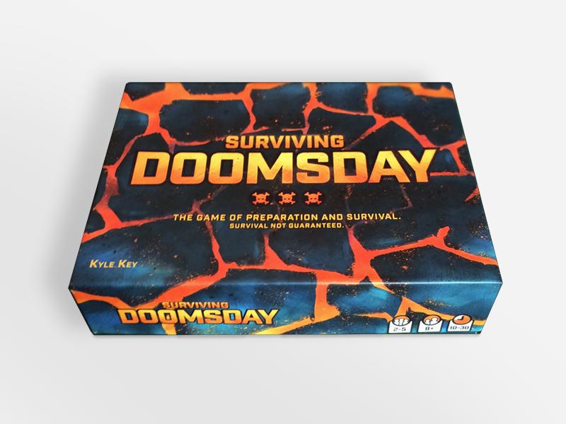 Surviving Doomsday Box surviving doomsday board game illustration lava volcano