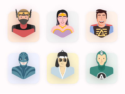 Characters of Bumilangit Universe. people icons illustration art colorful bumilangituniverse indonesia heroes 2d character characters cartoon 3d face people vector hero character 2d icon character design flat design illustration