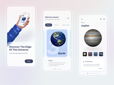 Solar System - An Astronomy App 3d illustration spaceships mockup spaceship universe mobile apps mobile ui prototype 3d astronaut astronomy space app space planet earth planet ux user experience user inteface ui