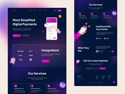 Financial App - Landing Page web design purple dark ui dark theme dark mode dark app minimalist texture glassmorphism digital payment payment app payment clean design gradients illustration 3d user interface landing page financial financial app