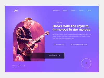 Music Concert Website Page - Hero Section ticket reservation event booking minimalist design minimalist event page music event performance booking concert page concert website concert app purple music concert concert landing page hero section hero page music page music