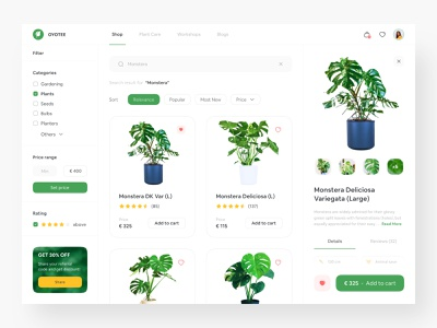 OYOTEE - Plant Shop Website checkout page filter category shopping website shopping app online shopping online shop ecommerce green app green web green online plant online store plant store web dashboard dashboard web store plant app plant shop plant