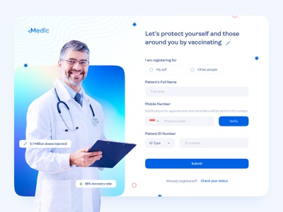 +Medic | Covid-19 Vaccination Registration Page booking web health care gradient medical home screen landing page appointment vaccine doctor form hero section health app health web health register sign up booking dashboard website registration