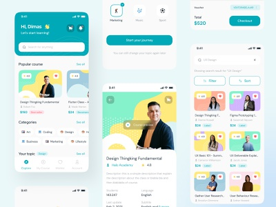 Secoola - Online Course Mobile UI Kit education app school class elearning e learning course online school online class education clean mobile mobile app course app online course
