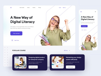 Online Course Landing Page recomended course virtual learning e learning elearning learning website course website school website hero section clean landing page landing page course landing page course web course app learning app virtual class online learning online class online course
