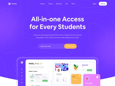 Landing page for Online Course Dashboard  👩🏫 minimalist gamification game home screen marketing page dashboard app clean landing page clean web clean ui purple learning web course web course app student app learning app dashboard pattern hero section landing page online course