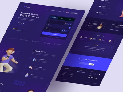 Cryptocurrency Exchange Web Platform 💰 dark mode money exchange 3d landing page 3d illustration gradient purple crypto app financial money etherium bitcoin cryptocurrency swap exchange crypto