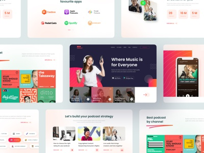 Podcast Platform Landing Page - Bandland UI Kit gradient hero section home page website landing page blog blog view channel ui kit subscribe categories streaming app streaming music app podcast app music podcast
