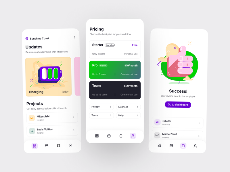 Snap! illustrations mobile clean iphone success prices plans application app design ux ui