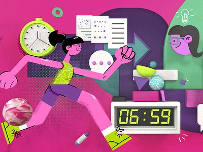 Run like a girl abstract ideia time wakeup clock run c4d smile girl woman design vector character illustration