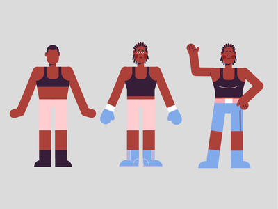 Character Process boxing glove boxing pose wave bye fighters sport boxe fight girl woman doodle vector design character illustration