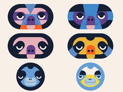 Sloth pallet animal character design doodle color vector illustration sloth
