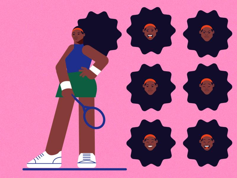 Serena athlete model faces sport tennis player tennis black pink girl woman design vector character illustration