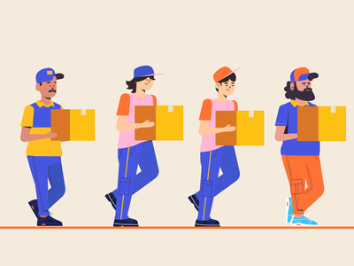 Delivery Boys boy cap yellow shipping box delivery man design vector character illustration