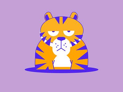 Tiger animal character animal illustration hole cat animal tiger tigre vector illustration