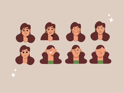 FACES face styles girl woman design character vector illustration