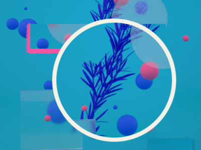Resemary 2.0 circle composition blue and white blue pink concept color glass alecrim rosemary clean c4d c4dart doodle illustration