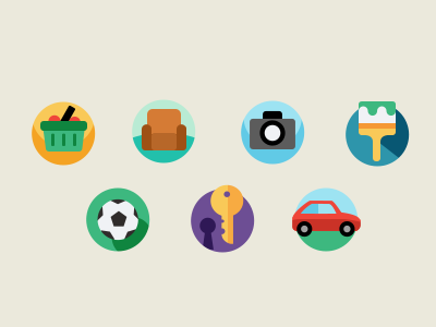 Simple icons 3 icon icons illustration furniture photo car key ball cart