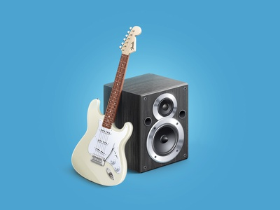 Music Icon guitar music icon. illustration speakers subwoofer acoustic