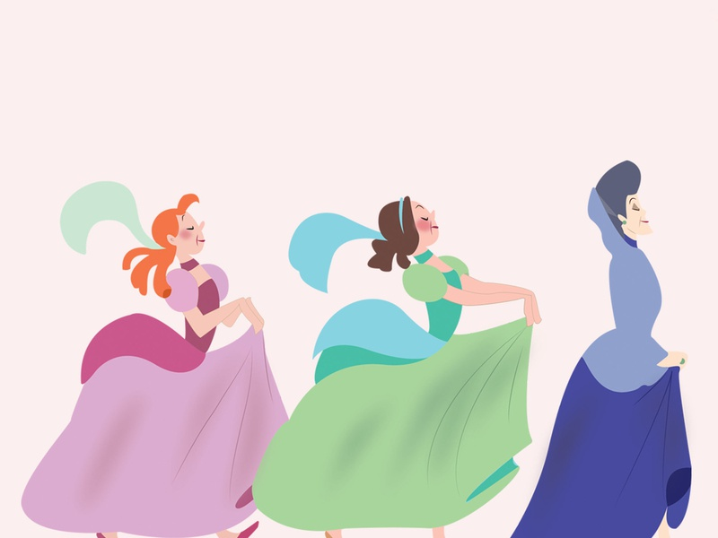Anastasia and Drizella animation vector design illustration