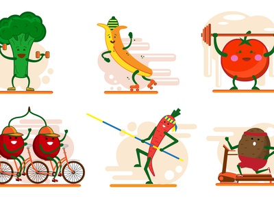 Cute Smiling Fruits And Vegatables  Involved In Sports