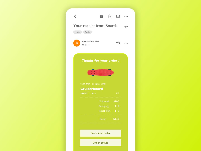 Daily UI - 017 - Email Receipt sketch appdesign app userinterfacedesign userinterface uidesign design ui dailyui017 dailyui