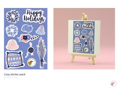 Cozy sticker pack winter illustration sticker design