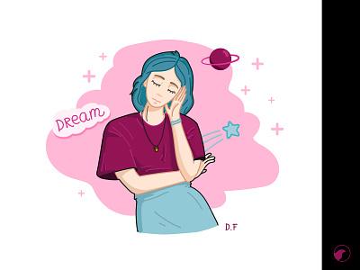 Dream girl illustration design girl vector illustration
