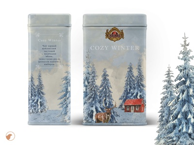 Cozy winter package snow winter illustration design package design tea